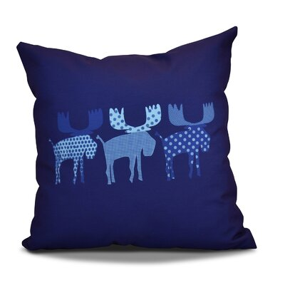 Christmas Decorative Holiday Animal Print Outdoor Throw Pillow Color: Blue, Size: 18 H x 18 W