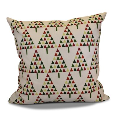 Christmas Triangle Trees Throw Pillow Size: 16 H x 16 W, Color: Cream