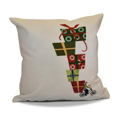 Christmas Presents Print Outdoor Throw Pillow Size: 16 H x 16 W, Color: White