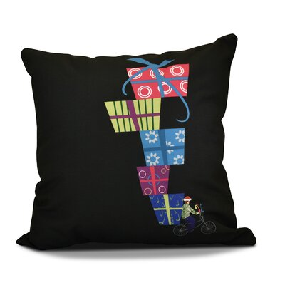 Christmas Presents Print Outdoor Throw Pillow Size: 16 H x 16 W, Color: Black
