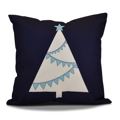 Christmas Tree Outdoor Throw Pillow Size: 16 H x 16 W, Color: Navy Blue
