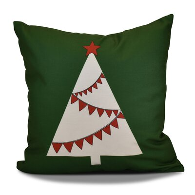 Christmas Garland Tree Throw Pillow Size: 18 H x 18 W, Color: Green