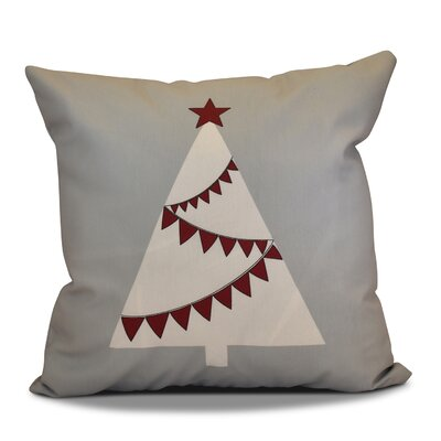 Christmas Tree Outdoor Throw Pillow Size: 18 H x 18 W, Color: Gray