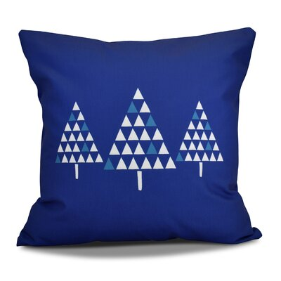 Christmas Trees Outdoor Throw Pillow Color: Royal Blue, Size: 18 H x 18 W