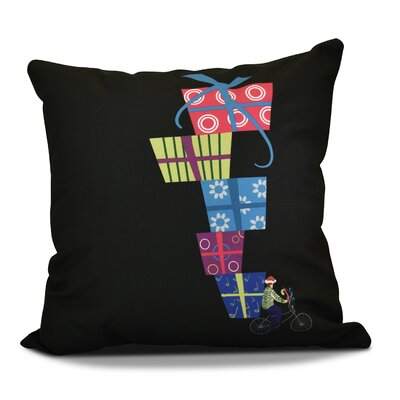 Christmas Presents Print Throw Pillow Color: Black, Size: 18 H x 18 W