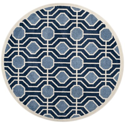 Izador Light Blue / Navy Indoor/Outdoor Area Rug Rug Size: Round 7