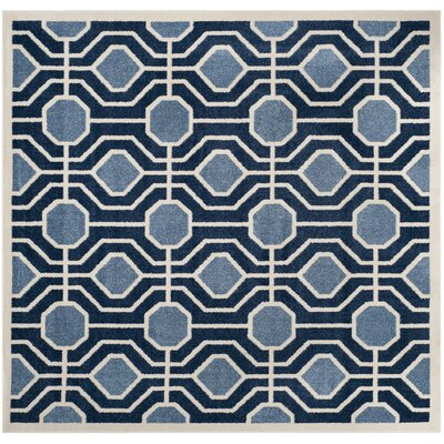 Izador Light Blue / Navy Indoor/Outdoor Area Rug Rug Size: Square 7