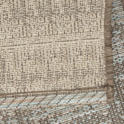 Abdera Light Blue/Brown Indoor/Outdoor Area Rug Rug Size: 7'7