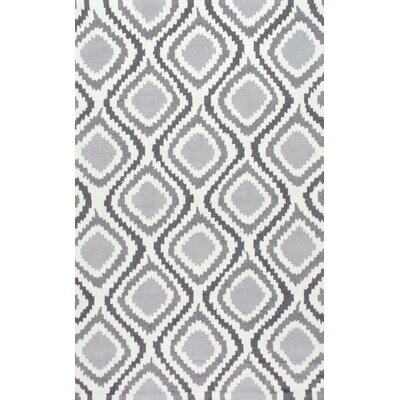 Nolhan Matthieu Hand-Hooked Gray/White Area Rug Rug Size: 4 x 6