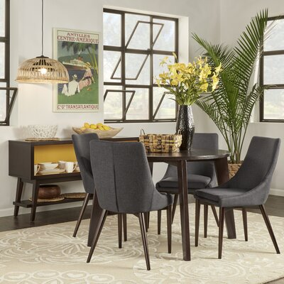 Blaisdell 5 Piece Dining Set Upholstery: Dark Gray