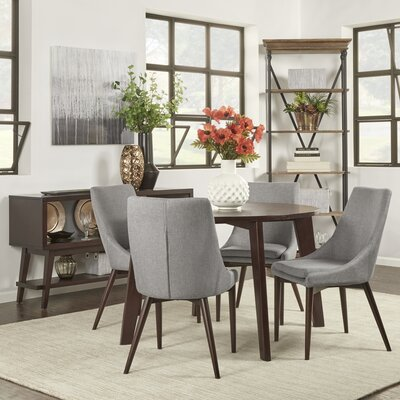 Blaisdell 5 Piece Dining Set Upholstery: Grey