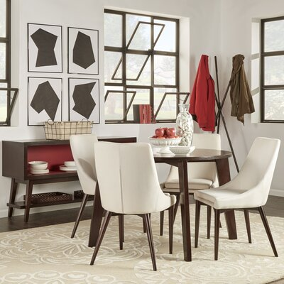 Blaisdell 5 Piece Dining Set Upholstery: White