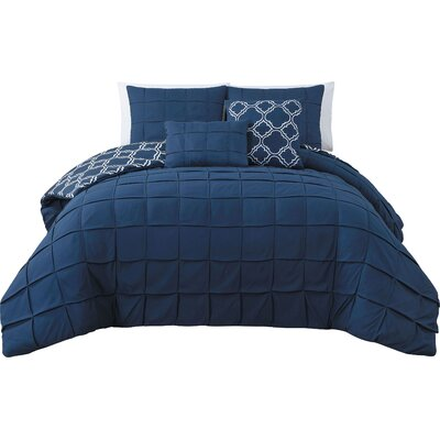 Theodosius 5 Piece Reversible Comforter Set Color: Navy, Size: Queen