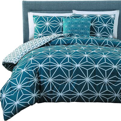 Aristoteles 8 Piece Reversible Bed-In-A-Bag Set Size: Queen, Color: Blue