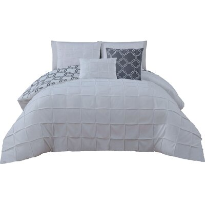 Theodosius 5 Piece Reversible Comforter Set Color: White, Size: King