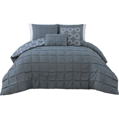 Theodosius 5 Piece Reversible Comforter Set Color: Gray, Size: King