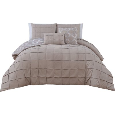 Theodosius 5 Piece Reversible Comforter Set Color: Taupe, Size: Queen