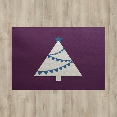 Christmass Tree Purple Indoor/Outdoor Area Rug Rug Size: 2' x 3'