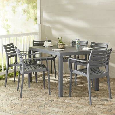 Nikoleta 7 Piece Dining Set Finish: Dark Gray