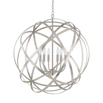 Adcock 6-Light Steel Globe Pendant Finish: Brushed Nickel