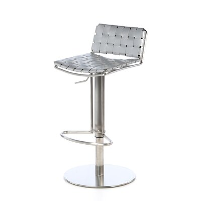 Tevin Adjustable Height Bar Stool Upholstery: Grey