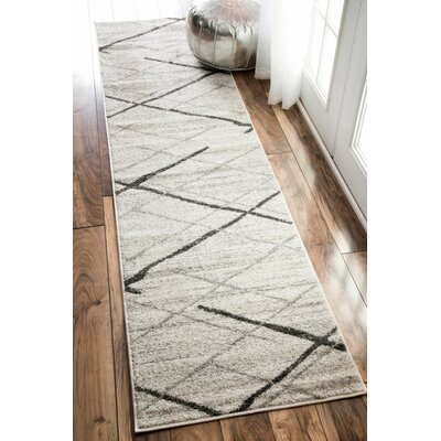 Azha Broken Light Gray Area Rug Rug Size: 25 x 95
