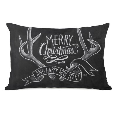 Lea Merry Christmas Antlers Lumbar Pillow
