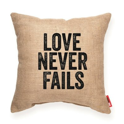 Bierman Love Never Fails Decorative Burlap Throw Pillow