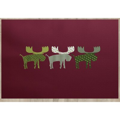 Reindeer Red Indoor/Outdoor Area Rug Rug Size: Rectangle 3 x 5
