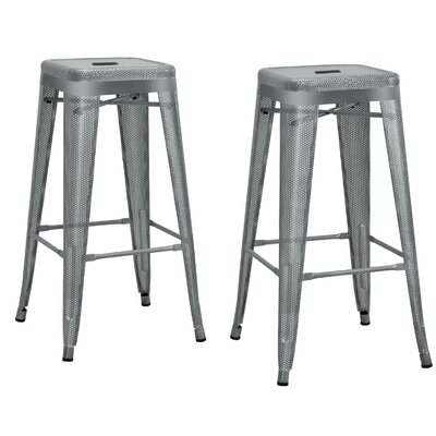 Uriarte 30 inch Bar Stool Finish: Silver