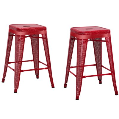 Uriarte 24 Bar Stool Finish: Red