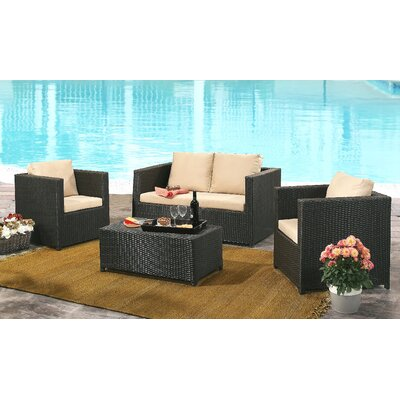 Artesian 4 Piece Deep Setting Group with Cushions Finish: Espresso