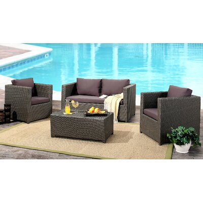 Artesian 4 Piece Deep Setting Group with Cushions Finish: Gray