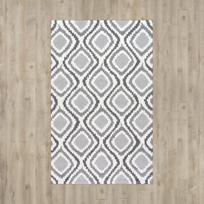 Nolhan Matthieu Hand-Hooked Gray/White Area Rug Rug Size: 76 x 96