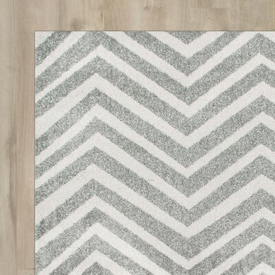 Nolting Gray/White Area Rug Rug Size: 710 x 112