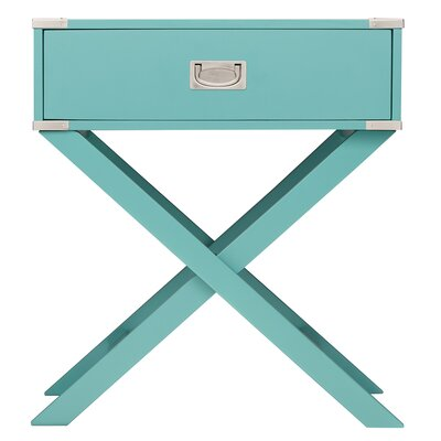 Marotta 1 Drawer End Table Color: Marine Green