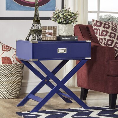 Marotta 1 Drawer End Table Color: Twilight Blue