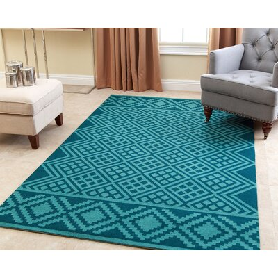 Bloss Hand-Tufted Teal Area Rug Rug Size: 8 x 10