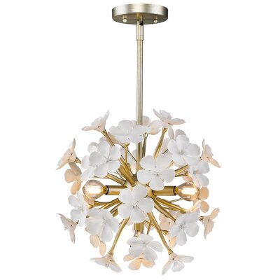 Adames 4-Light Geometric Pendant Finish: White Gold