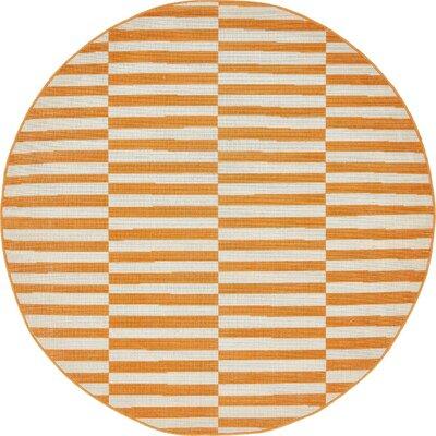 Braxton Orange Area Rug Rug Size: Round 5