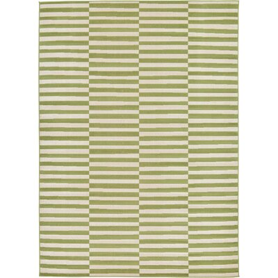 Braxton Grass Green/White Area Rug Rug Size: Rectangle 7 x 10