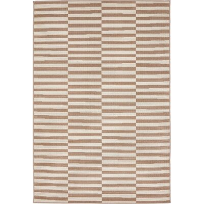 Braxton Light Brown Area Rug Rug Size: 4 x 6