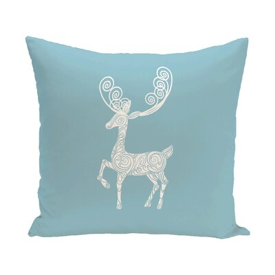 Deer Crossing Decorative Holiday Holiday Print Throw Pillow Color: Light Blue, Size: 18 H x 18 W