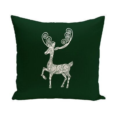 Deer Crossing Decorative Holiday Holiday Print Throw Pillow Size: 16 H x 16 W, Color: Dark Green