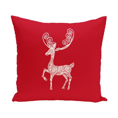 Deer Crossing Decorative Holiday Holiday Print Throw Pillow Size: 20 H x 20 W, Color: Red