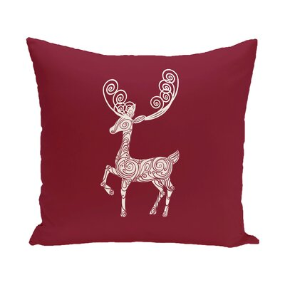 Deer Crossing Decorative Holiday Holiday Print Throw Pillow Size: 18 H x 18 W, Color: Cranberry/Burgundy
