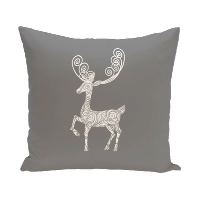 Deer Crossing Decorative Holiday Holiday Print Throw Pillow Size: 20 H x 20 W, Color: Gray