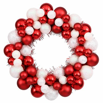 Shatterproof Christmas Ball Ornament Wreath Color: Red/White