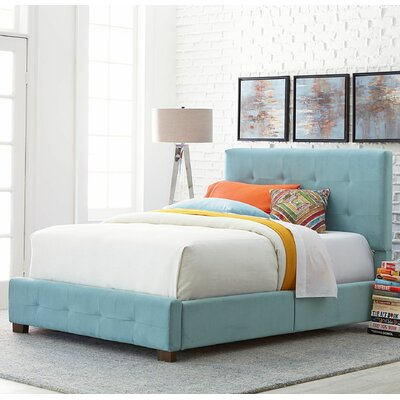 Upholstered Panel Bed Size: Twin, Color: Blue