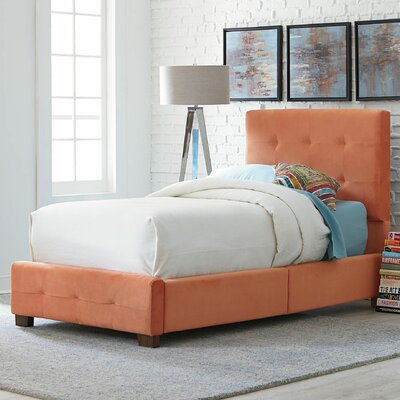 Upholstered Panel Bed Size: Twin, Color: Orange